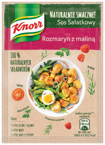 NOWE sosy sałatkowe Naturalnie smaczne! Knorr LIFESTYLE, Żywienie - Nadchodzą nowości! Portfolio sosów sałatkowych Naturalnie Smaczne! Knorr powiększa się o dwa nowe warianty: Grecki z suszoną czerwoną papryką oraz Rozmaryn z maliną.